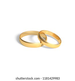 Two golden rings.  Gold wedding rings pair. Vector 3D realistic illustration isolated on white background