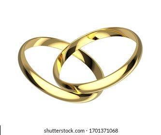 Two golden wedding rings. Wedding rings isolated on white background. 3D illustration.