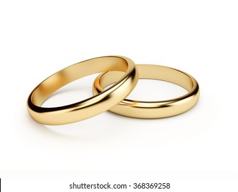 Two golden wedding rings  isolated  on white background. Symbol for marriage, love, relationships, proposals, valentine's day, engagement etc... Clipping path included.