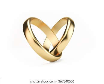 Two golden wedding rings on isolated white background symbolizing marriage; love; relationships; proposals; valentine's day; engagement etc...