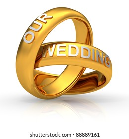 """Two golden wedding rings with text """"Our Wedding"""""""