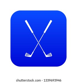 Two golf clubs icon digital blue for any design isolated on white illustration