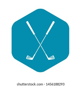 Two golf clubs icon. Simple illustration of two golf clubs icon for web