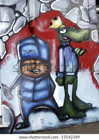 royalty free stock illustration of two graffiti cartoon figures