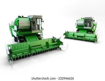 Two Green agricultural combine-harvesters isolated on white