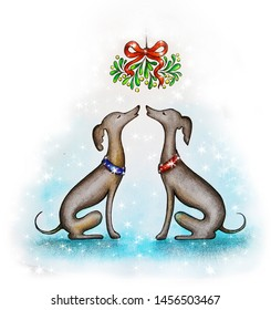 Two greyhound dogs are kissing under a mistletoe at Christmas. Watercolor painting.