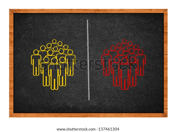 Two groups of people symbolizing the concept of division, conflict, polarization.