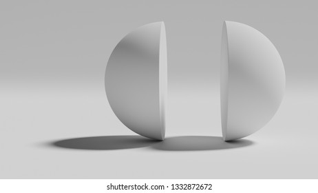 Two halfs of a white sphere. 3d render