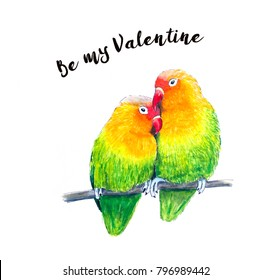 Two hand sketched Lovebirds. Valentine card