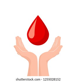 Two hands donate blood. World blood donor day concept. Red drop symbol of volunteer blood donation. illustration isolated on white background