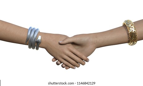 Two hands in a handshake gesture with silver snake and golden maze bracelets. Horizontal 3d render isolated on white.
