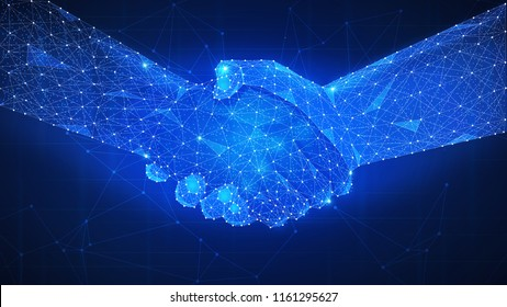 Two hands handshake polygonal low poly hud illustration. Smart contract agreement, blockchain and cryptocurrency, business network concept.