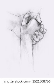 Two hands holding each other. Rescue or helping gesture of arms. Pencil graphic