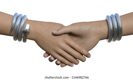 Two hands with silver snake bracelets in a handshake gesture. Horizontal 3d render isolated on white.