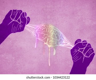 two hands squeezing brain colored digital illustration
