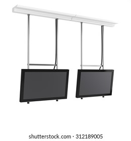 two hanging tv displays from side view