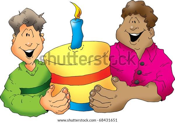 Marvelous Two Happy Guys Birthday Cake Stock Illustration 68431651 Personalised Birthday Cards Fashionlily Jamesorg