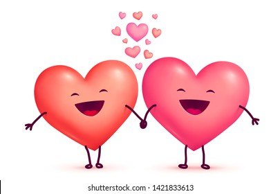 Two happy laughing holding hands cute lovely hearts, raster Valentines day greeting cart elements isolated on white background