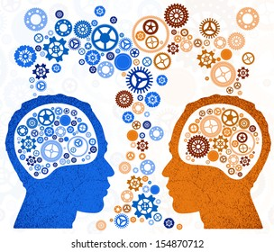 Two Heads With Brain Silhouette Facing Each Other. Symbol For.. Royalty  Free Cliparts, Vectors, And Stock Illustration. Image 105481143.