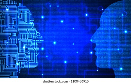 Two heads with circuit and blue code pattern facing each other deep learning concept