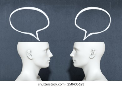two heads with speech bubbles, concept of dialogue (3d render)