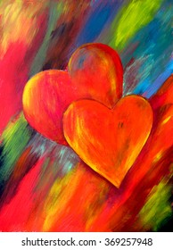 Two hearts hand painted. Abstract acrylic hand painted background, wallpaper, texture, close-up fragment of acrylic painting on canvas with brush strokes. Valentines background.