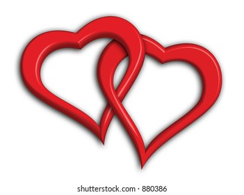 Two hearts intertwined - including clipping path (clipping path doesn't include drop shadows)