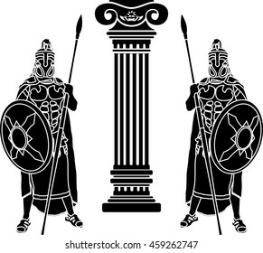 two hoplits and column. stencil. raster version