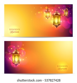 Two horizontal Ramadan banner set with flash light on beautiful colorful abstract background  illustration