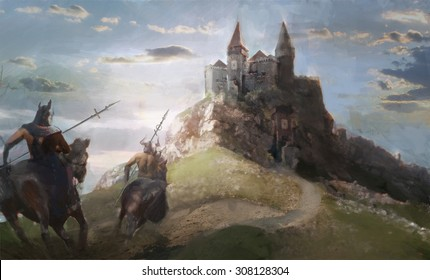 two horseman ridding into the castle