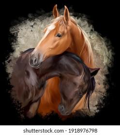 Two horses hugging. Watercolor drawing
