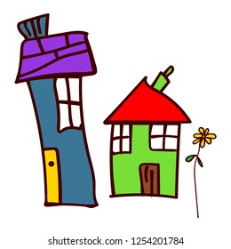 Two house and flower in the style of childrens drawings.  illustration. Isolated white background.