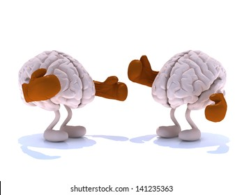 two human brain with boxing gloves in a fight, 3d illustration