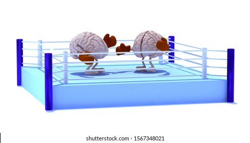 two human brains with boxing gloves in a fight on a boxing ring, 3d illustration
