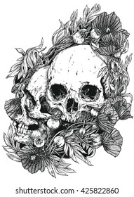 Two Human Skulls With Poppies, Hand Drawn With Pen And Ink, Halloween, Day Of The Dead