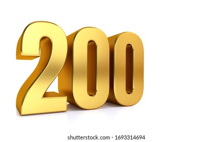 two hundred , 3d illustration golden number 200 on white background and copy space on right hand side for text