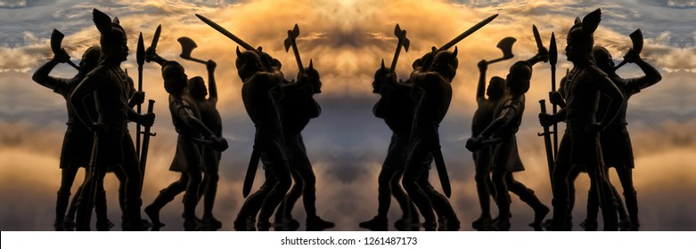 Two identical groups of well armed attacking Vikings (toy vintage soldiers silhouettes), battle scene, sky with thunder clouds, Old Norse mythology, Odin, Valhalla and Asgard theme