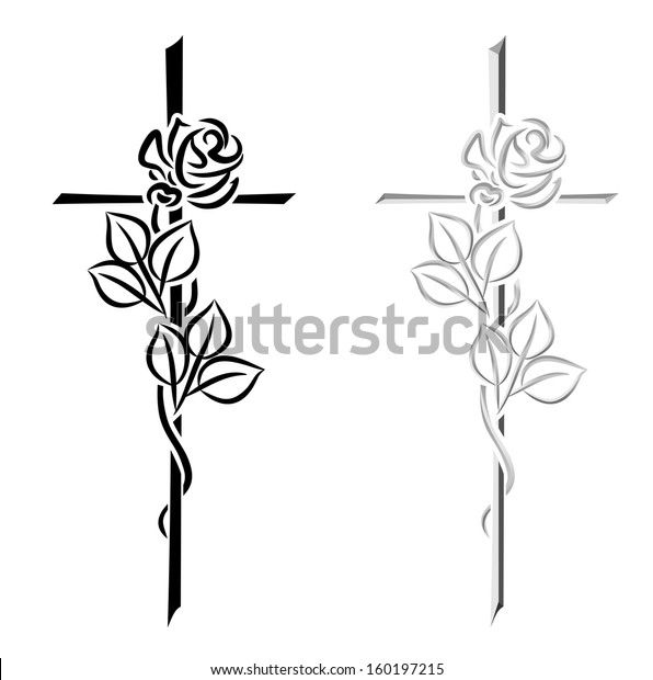 two illustrations of different crosses with roses