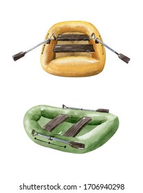 Two inflatable boats isolated on white background. Camping equipment. Watercolor illustration, hand dawn clipart.