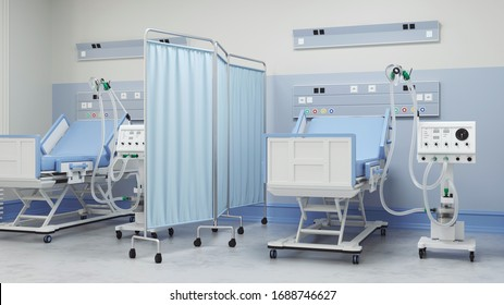 two intensive care beds with ventilators for Covid-19 patients in a double room of a clinic for a coronavirus pandemic (3D Rendering)
