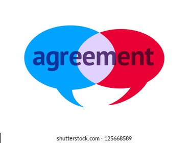 Two Intersecting Speech Bubbles With the Word Agreement