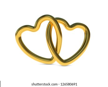 Two intertwined gold heart rings (3D render)