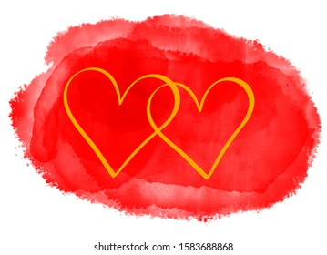 Two intertwined golden hearts on background of big watercolor painted red splash. Love, Valentine's Day, wedding or celebration concept. Computer generated background.