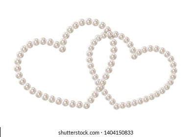 Two intertwined hearts isolated on transparent background. Realistic white pearls. Pearl chains. Beautiful natural heart shaped jewelry. Frame thread of pearls. Pearl necklace