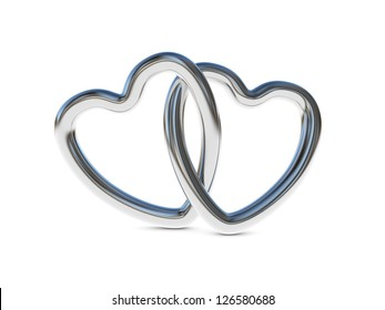 Two intertwined silver heart rings (3D render)