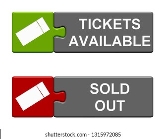 Two isolated Puzzle Buttons with Ticket symbols showing Tickets Available and Sold Out