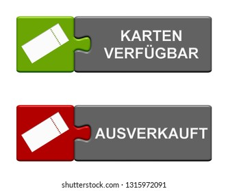 Two isolated Puzzle Buttons with Ticket symbols showing Tickets Available and Sold Out in german language