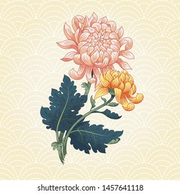 Two Japanese chrysanthemums. Seamless pattern with waves embroidered stitches Sachiko