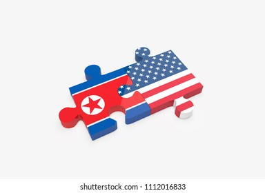 Two jigsaw puzzle pieces connected with U.S. and North Korean flags. United States and North Korea relations concept. 3D Illustration.