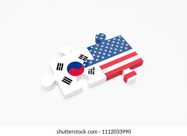 Two jigsaw puzzle pieces connected with U.S. and South Korean flags. United States and South Korea relations concept. 3D Illustration.